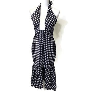 NASTY GAL COLLECTION Gingham Jumpsuit 6 black